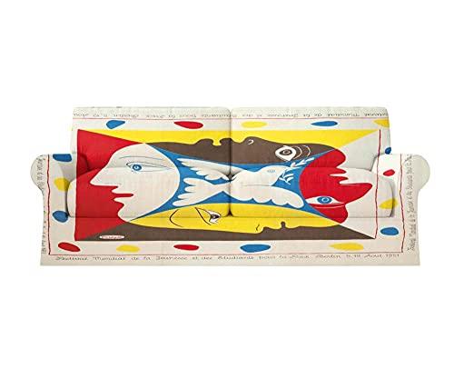 Fundas Sofa elasticas 1/2/3/4 plazas Cubre Sofa Fundas para Sofa Decorativas Fundas de Sofa Ajustables Fibra superfina 1 Pieza(Picasso Cuadro Abstracto de Paloma de la Paz,2 plazas:145cm-178cm)