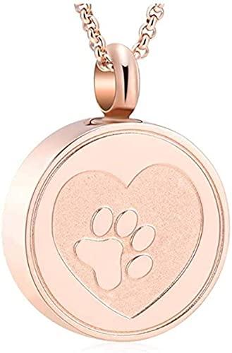 Aluyouqi Co.,ltd Collar de medallón de urna de cremación de Acero Inoxidable con Estampado de Pata de Mascota con Grabado Gratis, ataúd de Cenizas de Perro/Gato, joyería de Recuerdo