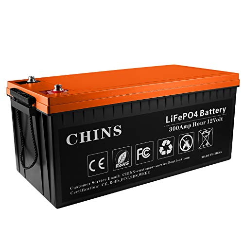 12V 300Ah LiFePO4 Deep Cycle Battery, Built-in 200A BMS, 2000-5000 Cycles, Each battery Can Support 2560W Power Output, Perfect for RV, Caravan, Solar, Marine, Home Storage and Off-Grid