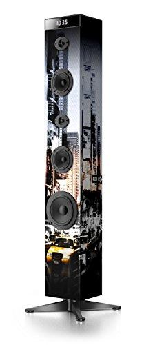 Muse M-1280 NY BTW Bluetooth Lautsprecher Tower mit integriertem Subwoofer (FM PLL Radio, Weckfunktion, NFC, Fernbedienung, 80 Watt, Holzgehäuse, USB, AUX-In)
