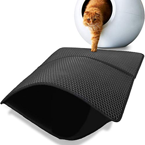 DEMESEX Tappetino per lettiera per gatti, dimensioni 55 x 75 cm, doppio strato di design a nido d'ape, impermeabile e antiscivolo, lavabile, leggero e resistente, per lettiera per gatti