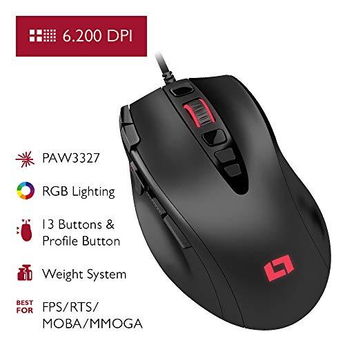 Lioncast LM15 Gaming Maus mit 13 Programmierbaren Tasten (RGB LED-Beleuchtung, PAW3327 Optischer Sensor, 6.200 DPI) Ergonomisches Design & Palm Grip mit Gewichtssystem für FPS, RTS und MOBAs