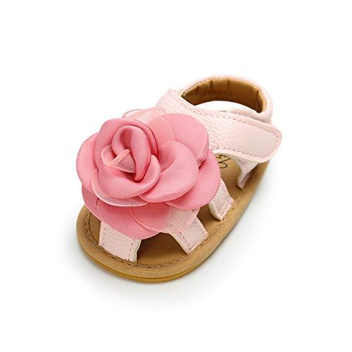 Lacofia Sandalias de Verano para bebé niñas Zapatos de Vestir de Flores de Infantiles para bebé Rosa 3-6 Meses