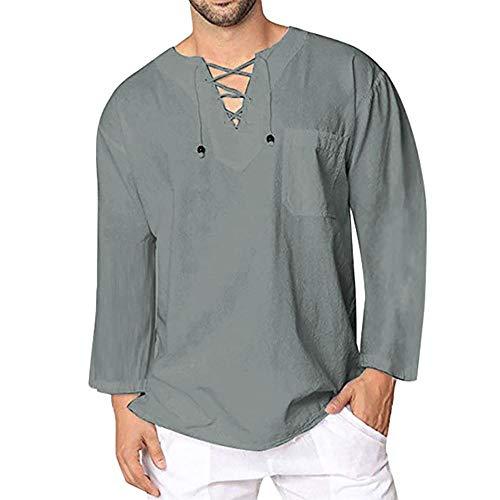 YEBIRAL T-Shirt Herren Leinenhemd V-Ausschnitt Yoga Shirt mit Schnürung Männer Vintage Fisherman Hemd Beach Top Sommer Freizeithemd Frühling Henley Shirt Langarmshirt(L,Grau)