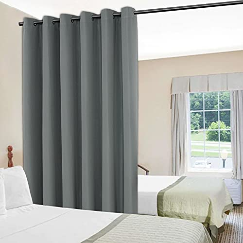 BONZER Room Divider Curtain Privacy Wall Screen Partitions Grommet Top Wide Curtains for Shared Bedroom Living Room Slide Window, 8.3ft Wide x 7ft Tall, 1 Panel, Grey