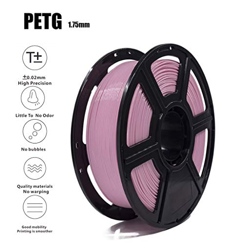 High Quality PETG Filament Pink 3D Filament 1.75mm 1KG(2.2lb), Accuracy +/- 0.02 mm,Non-Toxic Eco-Friendly Consumables for Most 3D Printer