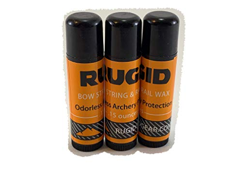 RUGID Compound, Recurve, Traditional Bow String and Crossbow Rail Wax, Lubricant & Conditioner - Cold Weather, Odorless Formula - 3-Pack .15 Ounce Tubes