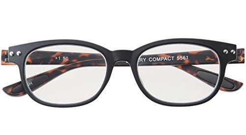メイガン おしゃれ 老眼鏡 ブルーライトカット ブラック デミ 度数+2.00 (colorfulook 軽量 形状記憶 フレーム) 5561-20