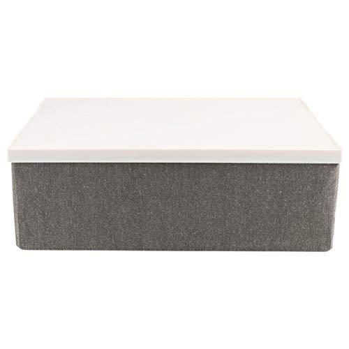Contenedores de almacenamiento plegables, cubos de almacenamiento Cajas de cubos Cajas de almacenamiento con manijas de tapa blanca para el hogar, dormitorio, armario, oficina(Caqui)