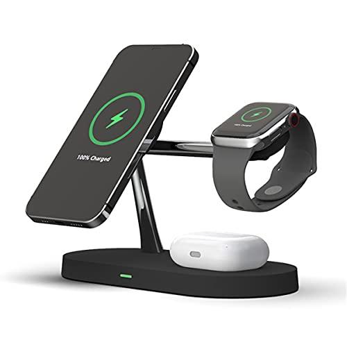LC.IMEKEK Cargador inalámbrico magnético 3 en 1 con luz nocturna, estación de carga inalámbrica QI rápida compatible con iPhone 12/11/X/XS Max, Huawei, Samsung, Apple Watch Series, AirPods Pro/2