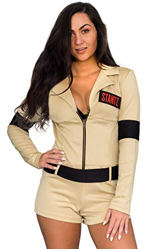 Ghostbusters Women's Romper Costume with 4 Interchangeable Velcro Name Patches, S, M, L