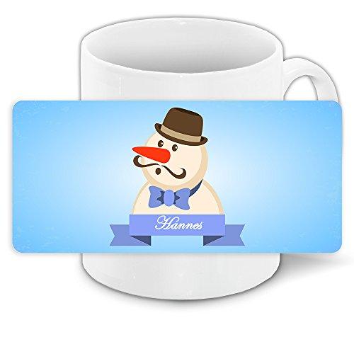 Tasse mit Namen Hannes und schönem Schneemann-Motiv mit Hut und Schnurrbart - Tasse zu Weihnachten