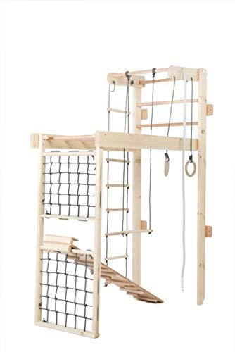Kidsmont Kombi-Sprossenwand 5 in 1 ABNEHMBAR KLAPPBAR Sprossenwand Turnwand Klettergerust Indoor Kletterwand (Sprossenwand mit Brett Rutsche und Matte, Grau)