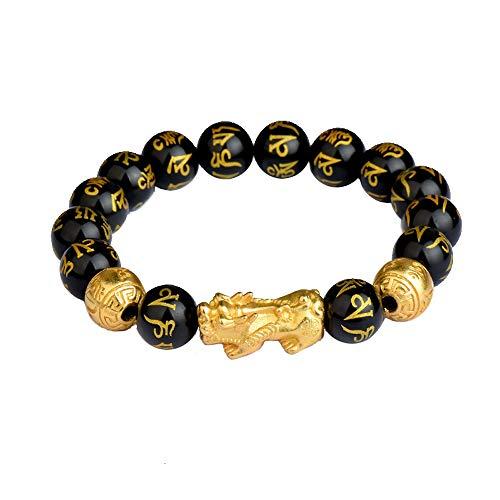 Buddha Power Feng Shui Black Obsidian Bracelet