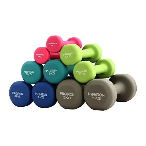 PROIRON ダンベル 1kg エクササイズ ネオプレンゴムコーティング [筋力トレーニング 筋トレ シェイプアップ...