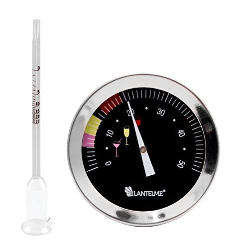 Lantelme Weinthermometer Glas Vinometer Set Wein Temperatur Alkoholgehalt Messung Thermometer Edelstahl 6411