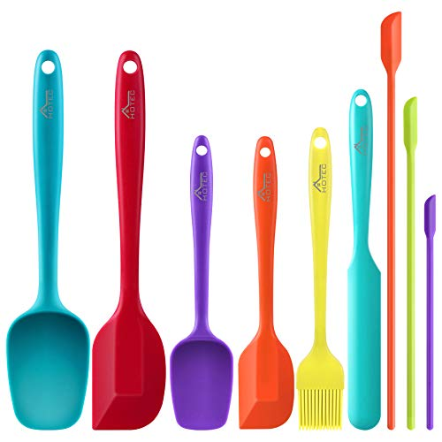 HOTEC Silicone Spatula Set Kitchen Utensils for Baking Cooking Mixing Heat Resistant Non Stick Cookware Food Grade BPA Free Dishwasher Safe (Multi-Color) Set of 9