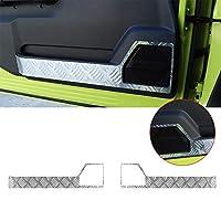 Pulidi スズキ ジムニー JB64 JB74 2019+ 適用 アルミニウム合金 ドアパネルトリム ドアパネルカバー インナードアプロテクションカバー サイドドアトリム 保護 車 インテリア 内装 パーツ アクセサリー Suzuki Jimny用 2点セット シルバー