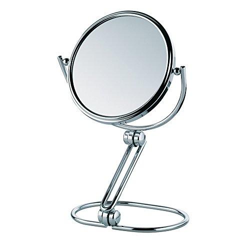 Kela 20625 Safia Miroir Cosmétique sur Pied Grossissant 5x Métal Chromé 17,5 x 6 x 18 cm