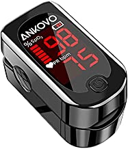 ANKOVO Pulse Oximeter Fingertip, Blood Oxygen Saturation Monitor with Pulse Rate, Heart Rate Monitor, Portable Pulse Ox with 2 Batteries and Lanyard (Royal Black)