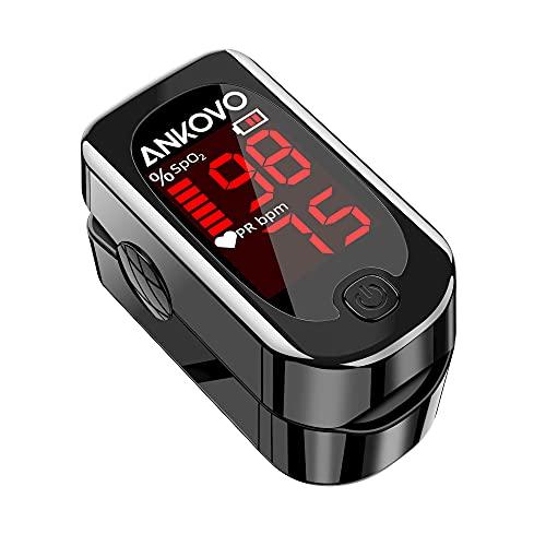 ANKOVO Saturimetro da dito Professionale Certificato, Pulsossimetro da Dito, Pulsossimetro per Saturazione di Ossigeno nel Sangue e Cardiofrequenzimetro, con 2 Batterie e Cordino (Nero Royal)