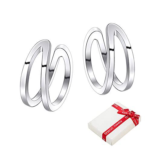Juego aretes de plata de ley 925 para mujeres,ear cuff orejeras anchas ajustables clips para orejeras hélice,pequeños pendientes de aro no perforantes joyería de moda regalo para Navidad cumpleaños