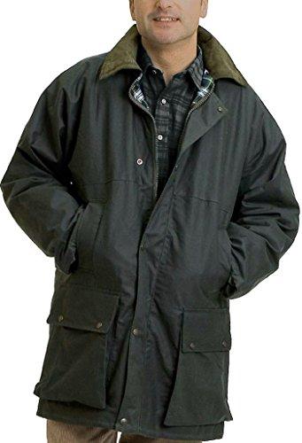 Regen-Jacke, gesteppt, gepolstert, Baumwollwachs Gr. Large, olivgrün