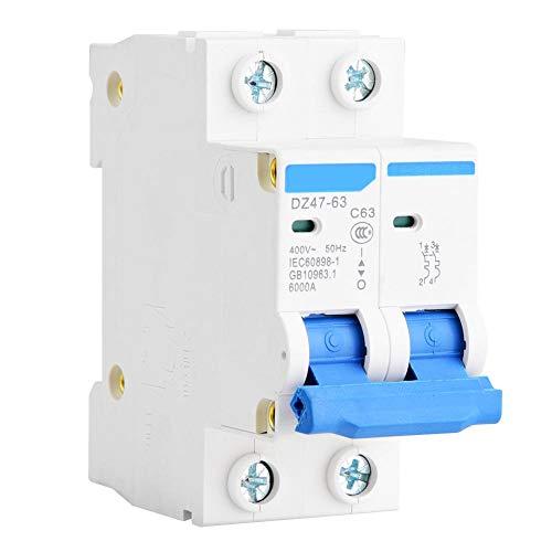 YWBL-WH Miniature Circuit Breaker DZ47-63 2P 400V AC Miniature Circuit Breaker Leakage Protection Air Switch 25A 40A 50A 63A(63A)