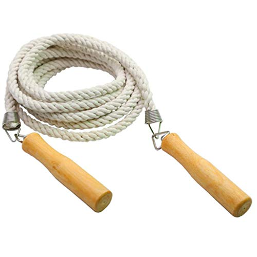 Onefa Skipping Cott Skipping Cotton Rope,Men's and Women's Sports Training Load Bearing Skipping Rope,Jump Rope,Wood Handle Skipping Rope,Fitness Equipment,Jump Ropes with Wooden Handles (Beige, 3m)
