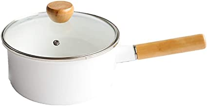 Saucepan Small Cooking Pot Multipurpose Sauce Pan with Lid Sauce Pot Easy Clean and Dishwasher Safe (Color : White)