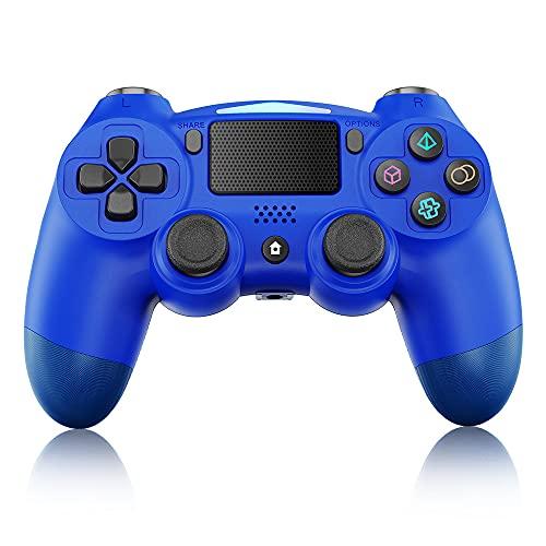 Controlador Inalámbrico para PS4, Controlador Inalámbrico BestOff para PlayStation 4 / Pro / Slim, Panel Táctil Con Doble Vibración, Turbo y Conector de Audio, Joystick Azul para PS4
