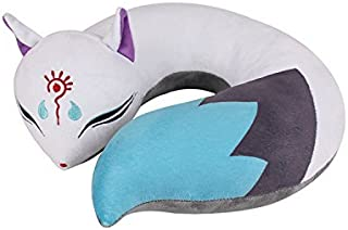 Cute Cat /Fox Spirit Plush Doll Toy U-Shape Neck Travel Pillow Gift Animation (Fox)