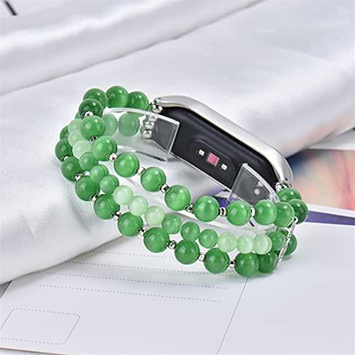 Pulsera de la ágata de granja elástica para la banda MI 6 5 4 3 Strap de reloj MIBAND Pulsera Cinturón Accesorios de reemplazo (Band Color : Green, Size : Mi Band 6)