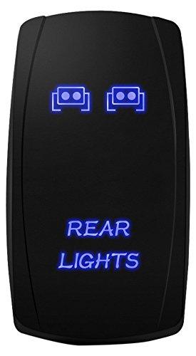 MICTUNING MIC-LSR12 5Pin Laser Rear Lights Rocker Switch On-Off LED Light 20A 12V, Blue