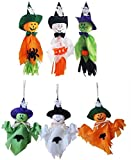 6 Packs Halloween Pumpkin Ghost Hanging Decoration - Spook Pumpkin Fly Witch Scarecrow Realistic Ghost Windsock for Front Yard Patio Lawn Garden Halloween Party Hanging Ornaments