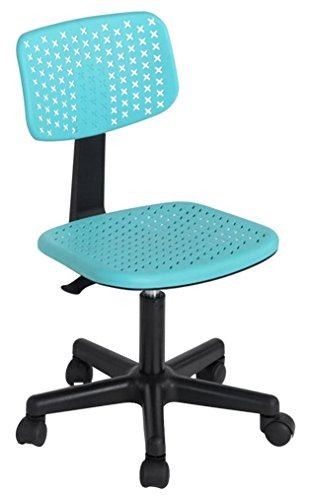 BAKAJI Silla de escritorio giratoria ergonómica de altura regulable con ruedas para oficina, casa, estudio, silla de escritorio de oficina (turquesa)