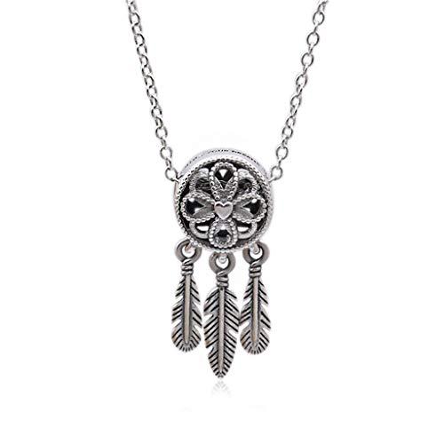 zxb-shop Collar Collar de Mujer de Plata esterlina 925 del colector del sueño clavícula Cadena de joyería Pendiente del Collar del colector del sueño Regalo Collares Collar Mujer
