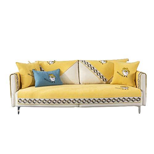 Moderne Chenille Stickerei Cartoon Entenmöbel Schonbezüge Couch Schonbezüge für Schnittkissenbezug,gelb,70 * 70
