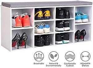 Happy & Home Banc de Rangement pour Chaussures en Bois Meuble à Chaussures avec Coussin de siège 10 grilles pour entrée du Couloir du Salon (104 * 30 * 48 cm-Blanc)
