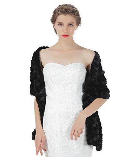 BEAUTELICATE Kunstpelz Schal Kunstfell Stola Damen Umhang Braut Bolero Für Abendkleid Brautkleid Fasching Winter Hochzeit Halloween Weihnachten