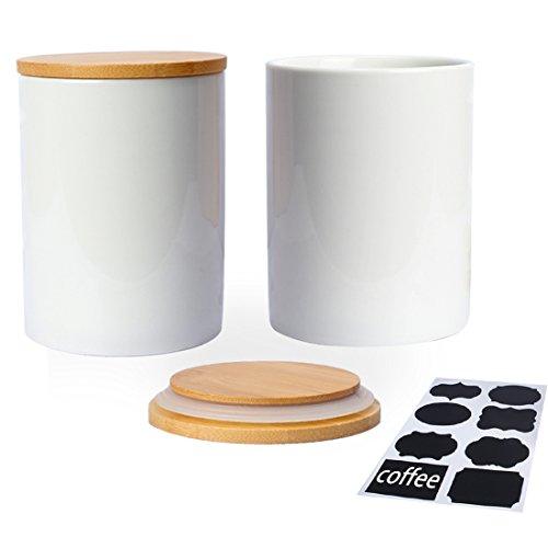 Fecihor 800 ML Vorratsdosen set von 2 Keramik Dose mit Deckel Weiß Tee und Zucker Vorratsdose Luftdicht Kaffeebohnen Behälter Küche Gewürze Groß mit Schwarzem Etikett