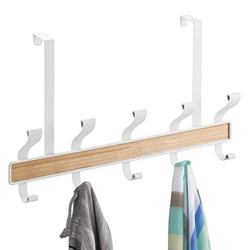 mDesign haakstrip - 5 dubbele garderobehaken voor de deur in hal en badkamer - garderobehaken voor mantels, jassen, badjassen, handdoeken - garderobe in wit/hout