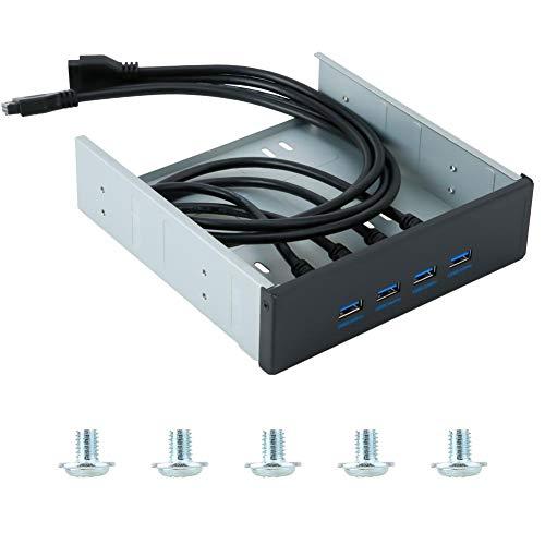4-Poorts Desktop Voorpaneel Optisch Station USB3.0, Hoge Snelheid 20Pin 4-poorts USB 3.0 Hub Optische Schijf Driver Voorpaneel, Compatibel met USB 1.1/2.0/3.0, Drive-vrij voor Plug and Play
