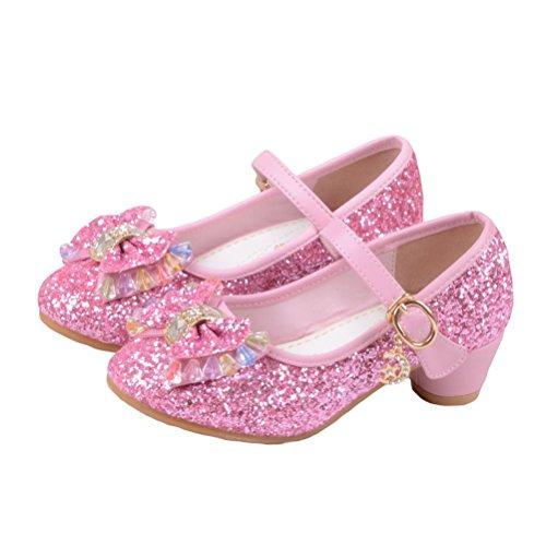 O&N Prinzessin Gelee Partei Absatz-Schuhe Sandalette Stöckelschuhe für Kinder(Size 28 EU) Rosa