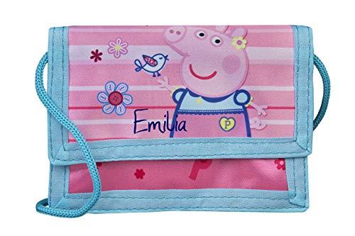Portemonnee met naam   incl. naamskaart   Motief Peppa Pig varkentje in roze & lichtblauw   Personaliseren & bedrukken   Omhangportemonnee portemonnee om te hangen voor meisjes