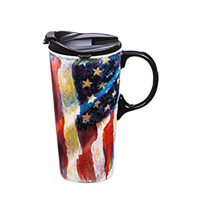 Patriotic Flag Travel Coffee Cup With Handle And Lid