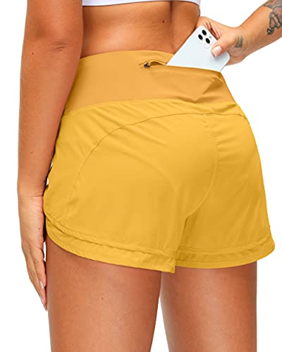 Women's Running Shorts with Zipper Pocket 3 Inch Quick-Dry Workout Athletic Gym Shorts for Women Yellow