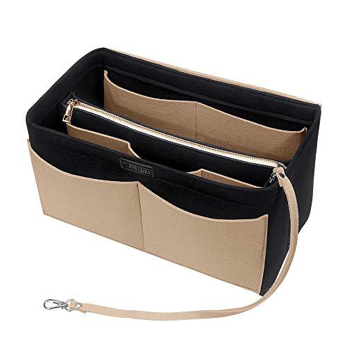 Ropch Handtaschen Organizer, Filz Taschenorganizer Bag in Bag Innentaschen Handtaschenordner mit Abnehmbare Reißverschluss-Tasche und Schlüsselkette, Schwarz und Beige - XL