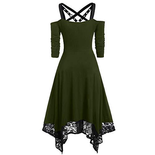 Gothic Mittelalter Kleid Damen Übergroßes Mesh Maxikleid Schnürkleid mit Schmetterlingsärmeln Renaissance Cosplay Dress Party Festlich A-Linie Halloween Kostüm