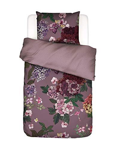 ESSENZA Bettwäsche Diana Blumen Hortensien Baumwollsatin Violett, 135x200 + 1x 80x80 cm